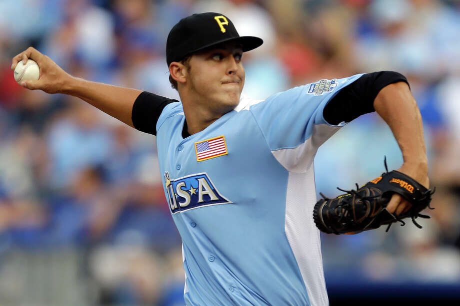 United States pitcher Jameson Taillon delivers during the fifth inning of the MLB All-Star Futures baseball game against the World, Sunday, July 8, 2012, in Kansas City, Mo. (AP Photo/Jeff Roberson) Photo: Jeff Roberson