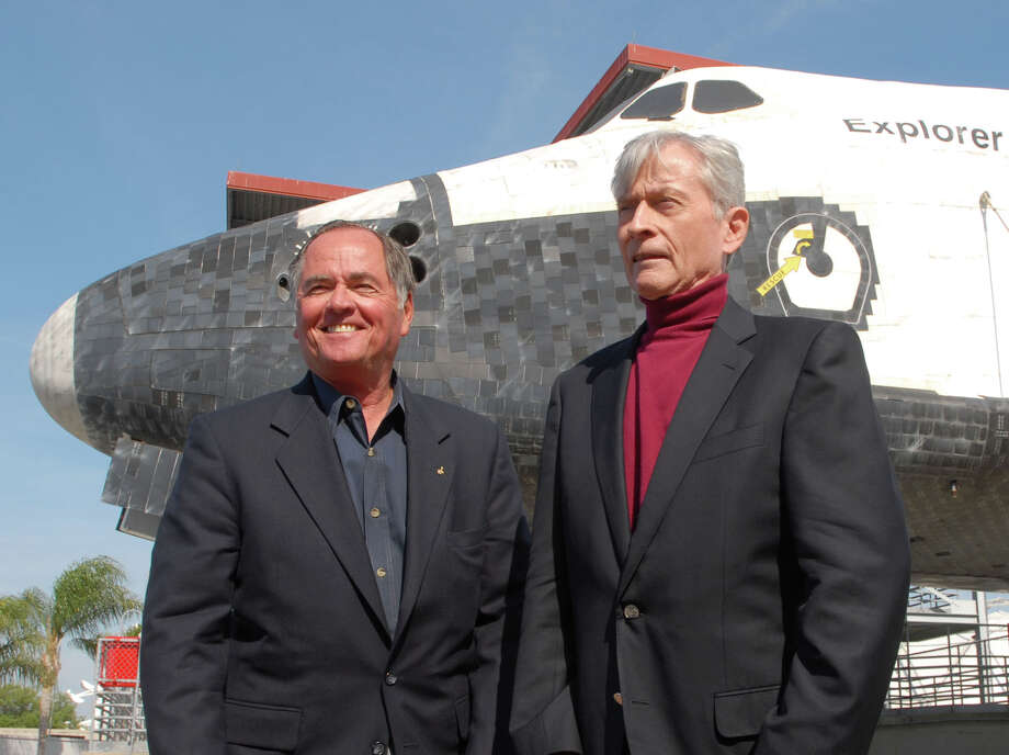 Robert Crippen: Pilot (left) of Space Shuttle STS-1, the first orbital test flight of the NASA Shuttle program. STS-1 Commander John Young is at right. Photo: Phelan M. Ebenhack, Associated Press / AP2006
