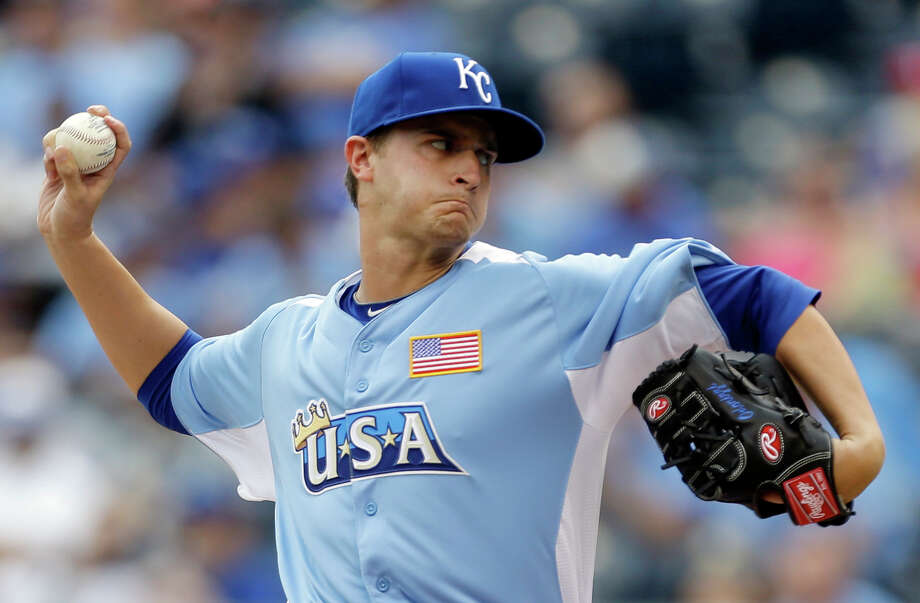 United States starting pitcher Jake Odorizzi delivers during the first inning of the MLB All-Star Futures baseball game against the World, Sunday, July 8, 2012, in Kansas City, Mo. (AP Photo/Jeff Roberson) Photo: Jeff Roberson