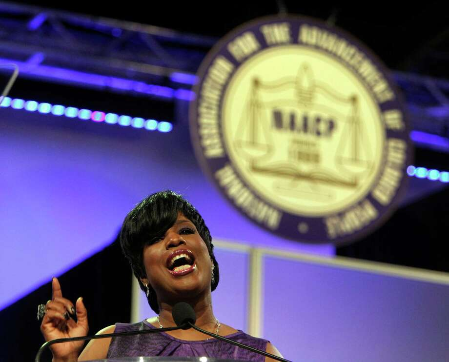 In wide-ranging remarks, NAACP Board Chair Roslyn Brock spoke Sunday at the NAACP Convention in Houston about politics, education and health care. Photo: James Nielsen / © Houston Chronicle 2012
