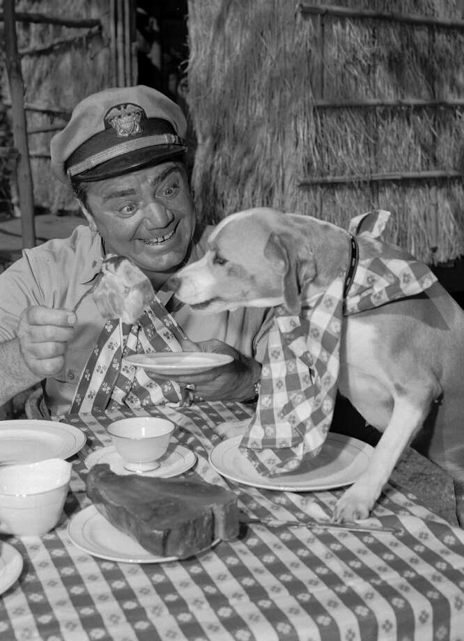 "**FILE**Veteran actor Ernest Borgnine smiles while his companion reaches for a tempting morsel in a 1963 scene from ABC's ""McHale's Navy,"" television comedy series. His 90th birthday is on Wednesday, Jan. 24, 2007. (AP Photo) / AP2007"