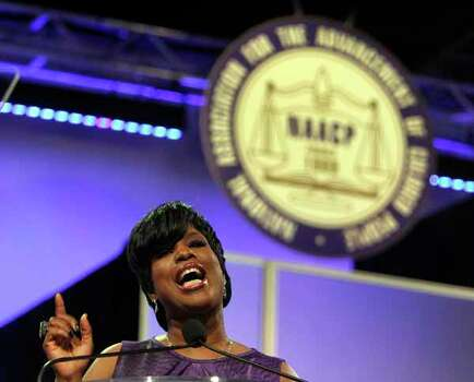 Brock speaks Sunday during the 103rd NAACP Convention at the George R. Brown Convention Center in Houston. Photo: James Nielsen, . / © Houston Chronicle 2012