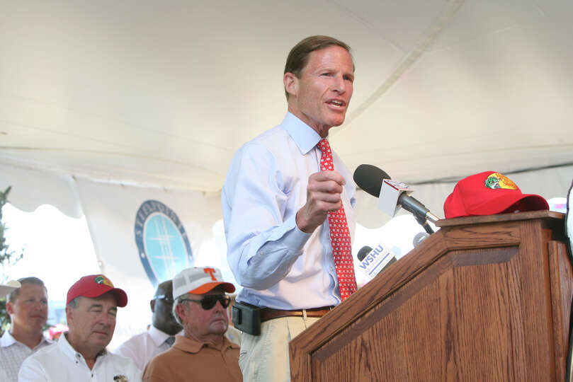 Senator Richard Blumenthal speaks at the announcement event of a Pro Bass Shop opening in the Steel