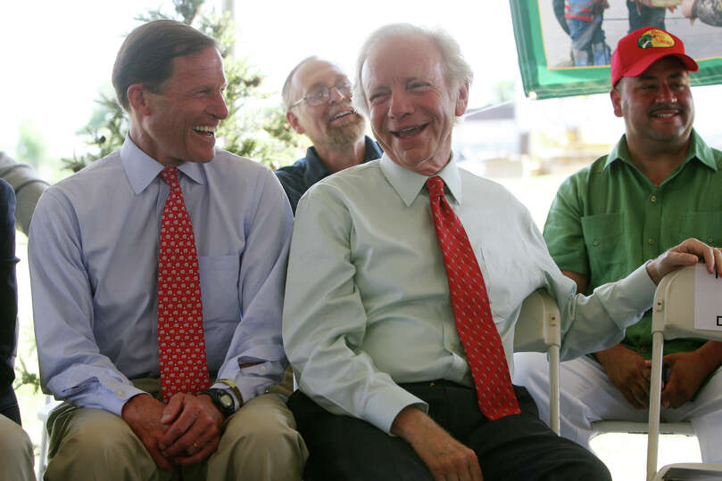 Senator Richard Blumenthal, left, and Senator Joseph Lieberman attend the announcement event of a Pr