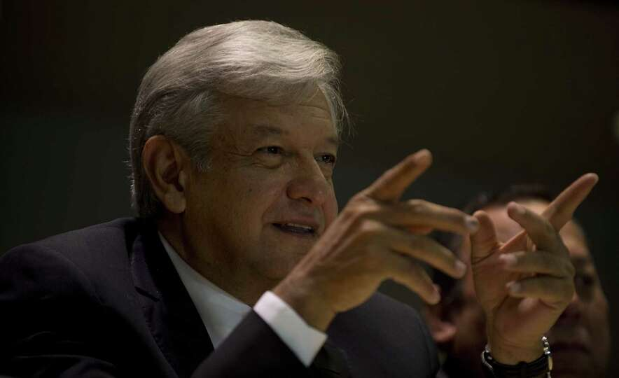 The presidential candidate for the leftist coalition Progressive Movement of Mexico, Andres Manuel L