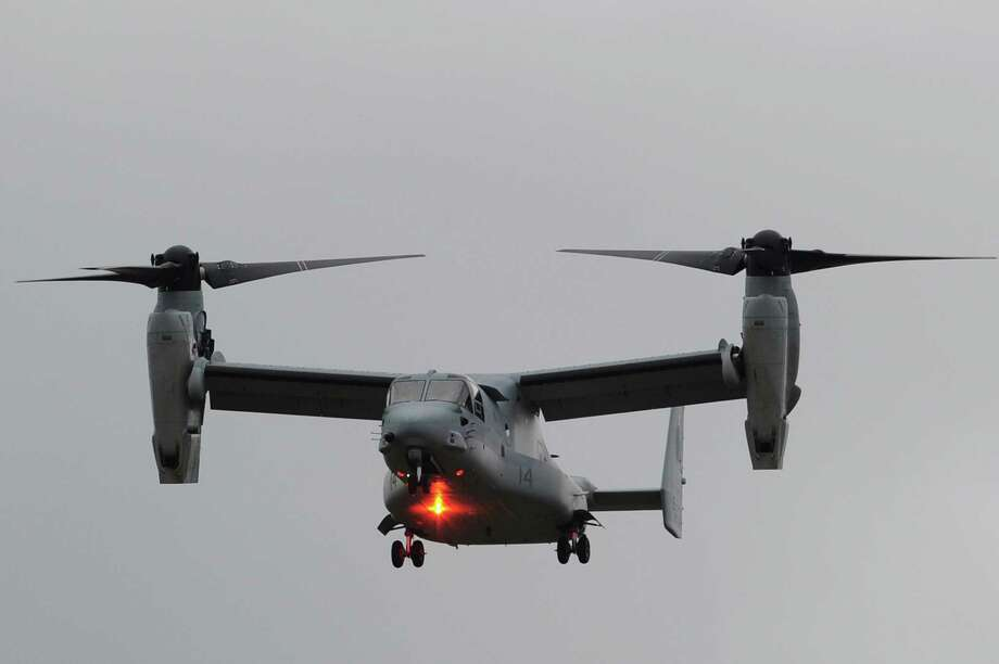 The Bell-Boeing V-22 Osprey uses tilting rotors to take off and land like a helicopter, and fly line a fixed-wing aircraft. Technical and cost issues dogged the program from the awarding of the contract to a Bell-Boeing team in 1983 through first flight in 1989 and deployment in 2007. Photo: CARL COURT, AFP/Getty Images / 2012 AFP