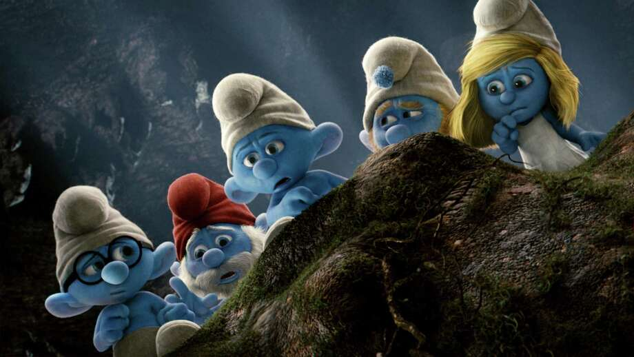 "Catch Brainy (from left), Papa, Grouchy, Gutsy and Smurfette in ""The Smurfs"" at Splashtown. Photo: Columbia Pictures / ©2011 CTMG, Inc.  All Rights Reserved.  **ALL IMAGES ARE PROPERTY OF SONY PICTURES ENTERTAINMENT INC. FOR PROMOTIONAL USE ONLY."