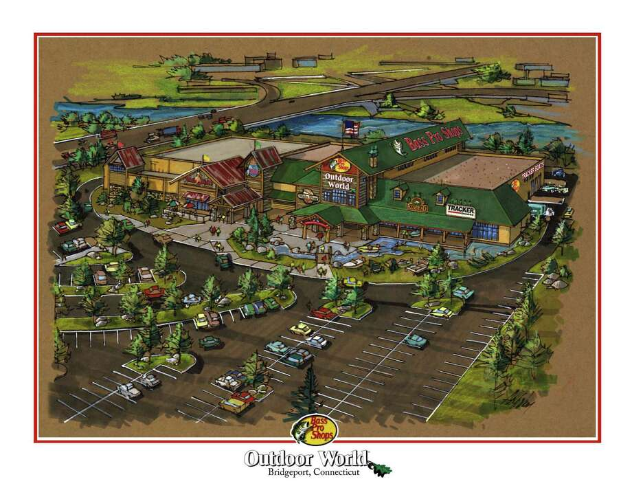 Artist rendering of the Bass Pro Shop to be built on the Steel Point property in Bridgeport, Conn. Bass Pro Shops, a destination for fishermen, boaters, outdoor enthusiasts and tourists across the U.S. and Canada, is slated to open on the waterfront property before Christmas 2013. Photo: Contributed Photo, Bass Pro Shop/Contributed Photo / Connecticut Post Contributed