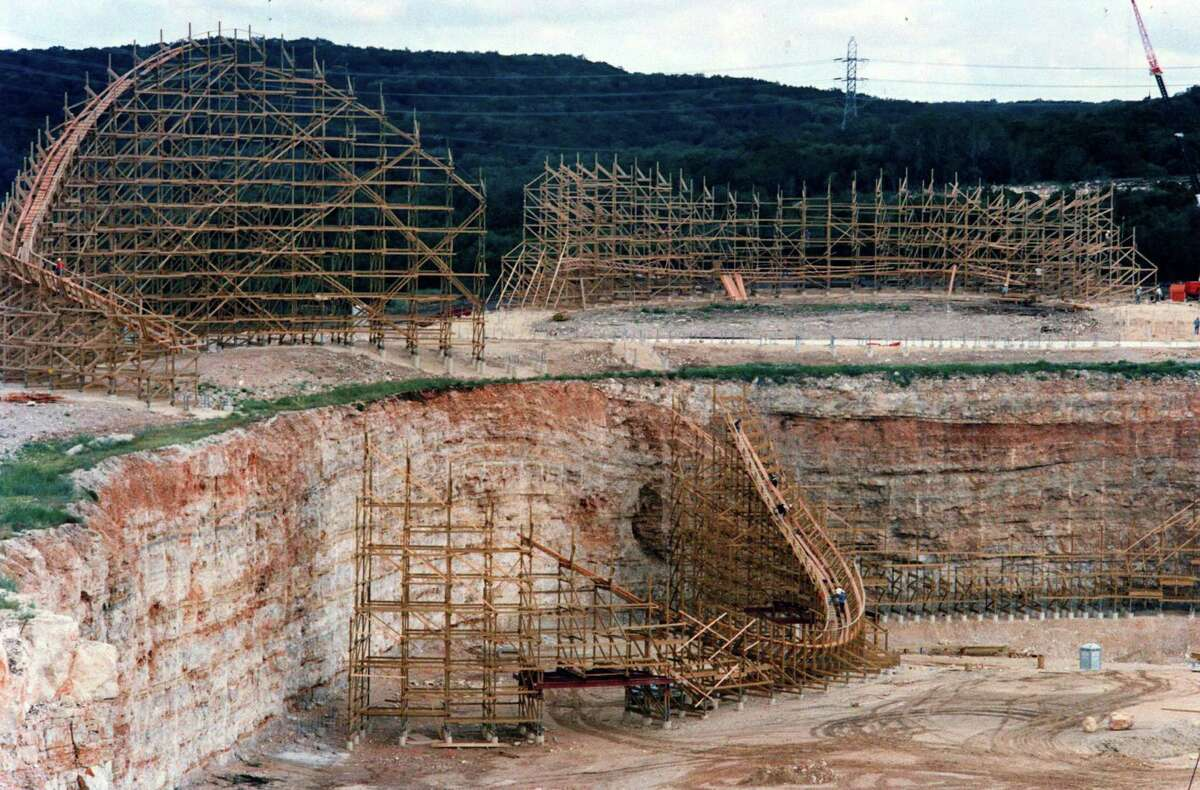 In a San Antonio Express-News file photo of The Rattler is a wooden roller coaster under construction in July 1991.
