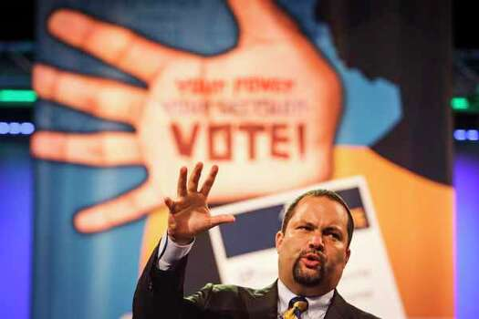 NAACP President and CEO Benjamin Todd Jealous speaks Monday during the 103rd NAACP Convention at the George R. Brown Convention Center in Houston. Photo: Michael Paulsen, . / © 2012 Houston Chronicle