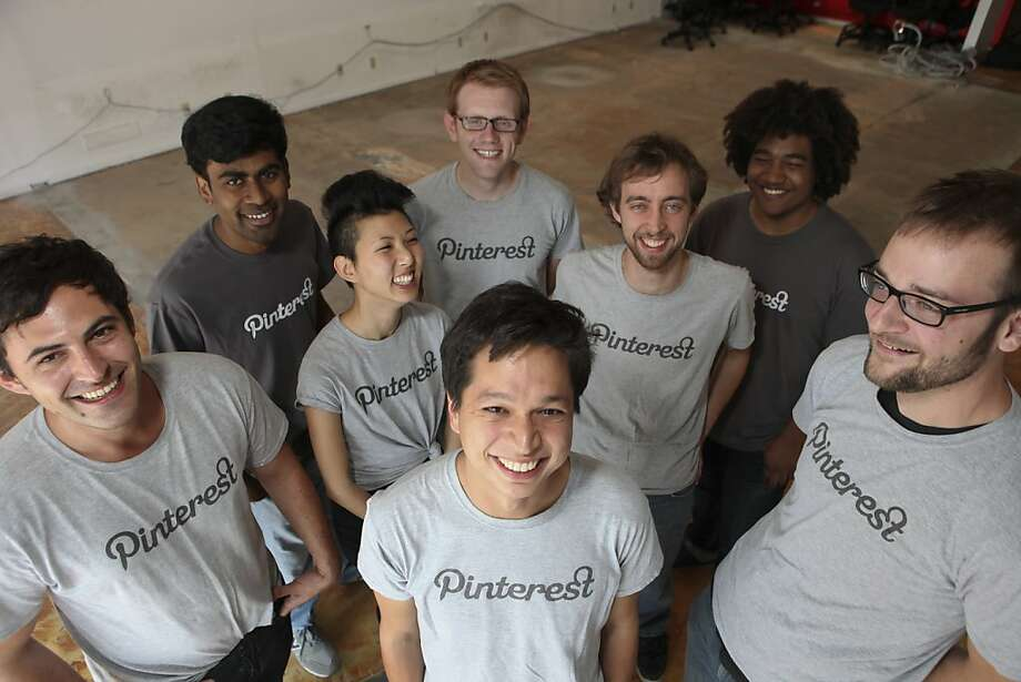 The team members of  Pinterest (left to right, back) Yash Nelapati, Ryan Probasco, Justin Edmund (center) Enid Hwang, Marty Weiner (front) Paul Sciarra, Ben Silbermann and Evan Sharp in the start-up company's new office space on Thursday, September 8, 201The team members of  Pinterest (left to right, back) Yash Nelapati, Ryan Probasco, Justin Edmund (center) Enid Hwang, Marty Weiner (front) Paul Sciarra, Ben Silbermann and Evan Sharp in the start-up company's new office space on Thursday, September 8, 2011 in Palo Alto, Calif. Photo: John Sebastian Russo, Special To The Chronicle