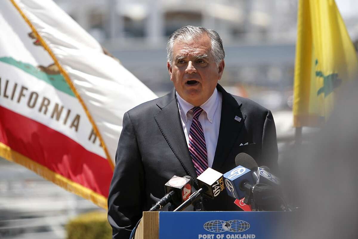 Ray Lahood speaks at the Port of Oakland on Monday, July 9, 2012, in Oakland, Calif. Governor Edmund G. Brown Jr. joins United States Secretary of Transportation Ray Lahood, Oakland mayor Jean Quan and others Monday, July 9, 2012 at the Port of Oakland to mark the $15 million federal TIGER (transportation Investment Generating Economic Recovery) grant awarded to Oakland to fund its rail development project.