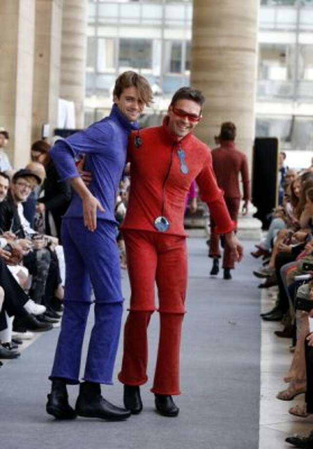 Models display creations by French designer Pierre Cardin during the men's spring-summer 2013 fashion collection show on July 1, 2012 in Paris. AFP PHOTO / PIERRE VERDY        (Photo credit should read PIERRE VERDY/AFP/GettyImages) (AFP/Getty Images)