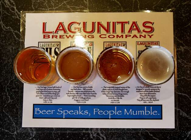 The Lagunitas beer sampler is a popular way to find the brew you prefer. The Lagunitas Taproom and beer sanctuary is a delicious secret on the east side of Petaluma featuring their superb beer, live music, and entertaining food. Photo: Brant Ward, The Chronicle