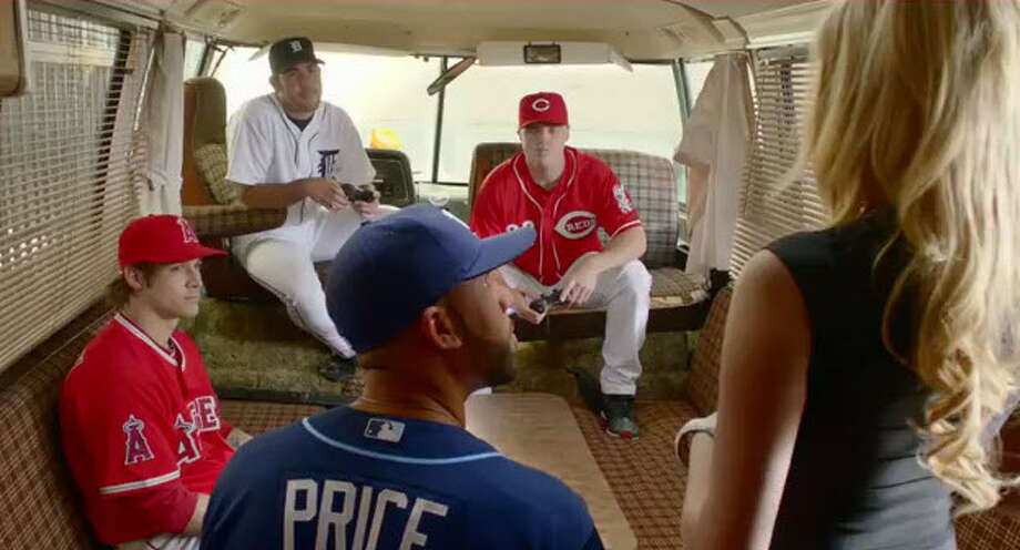 Cincinnati Reds outfielder and West Brook grad Jay Bruce is with Tigers pitcher Justin Verlander, Angels pitcher C.J. Wilson, Rays pitcher David Price and supermodel Kate Upton for a video game commercial that shown online. (Courtesy Electronic Arts Inc.) Photo: Electronic Arts Inc.