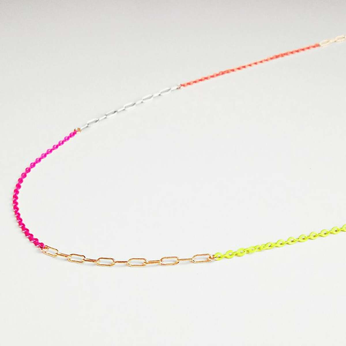 Neon necklace: Neon is the new black! Lately, I ve been wearing this necklace every day. It s by local designer Joy Opfer. I love her minimal jewelry line, Kyler Designs. (www.kylerdesigns.com)
