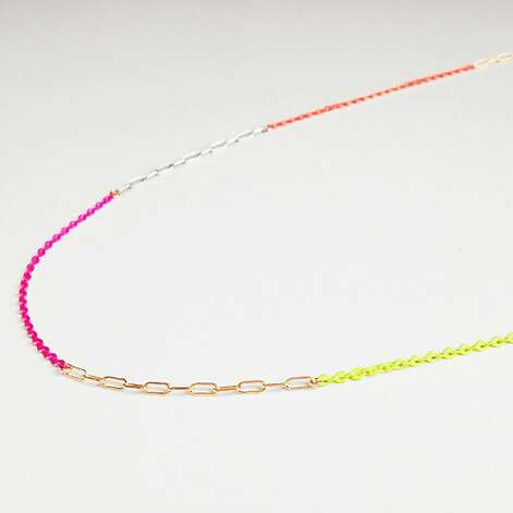 Neon necklace:  Neon is the new black! Lately, I ve been wearing this necklace every day. It s by local designer Joy Opfer. I love her minimal jewelry line, Kyler Designs.  (www.kylerdesigns.com) Photo: Joy Opfer