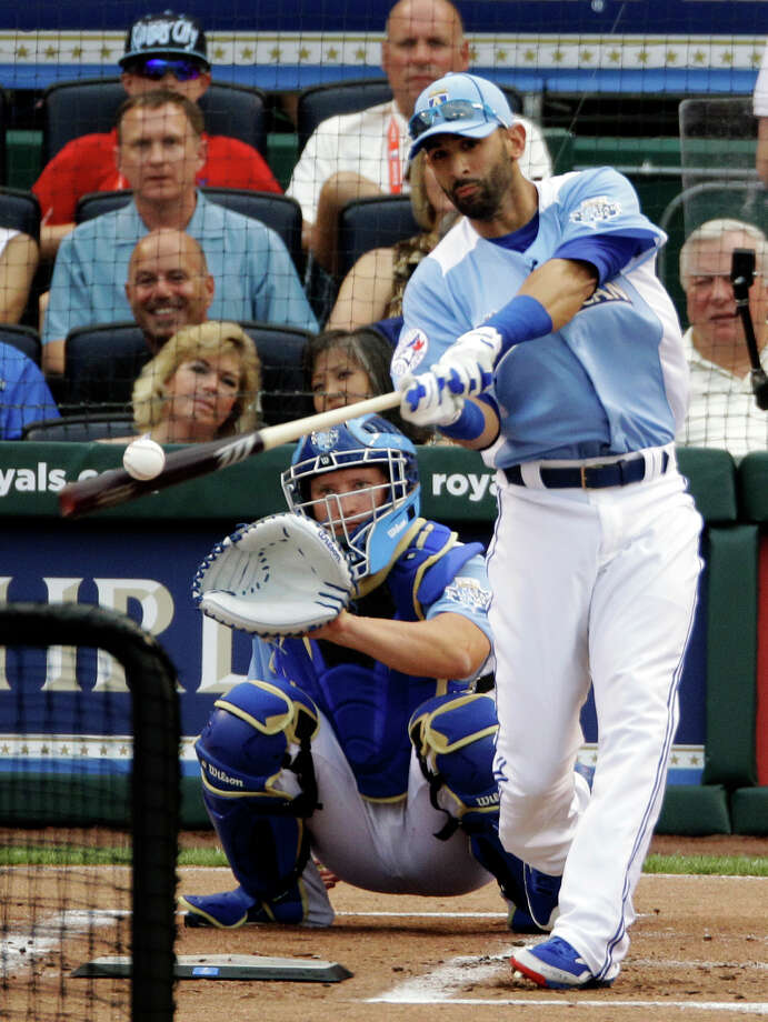 American League's Jose Bautista, of the Toronto Blue Jays, hits during the MLB All-Star baseball Home Run Derby, Monday, July 9, 2012, in Kansas City, Mo. Photo: Charlie Neibergall
