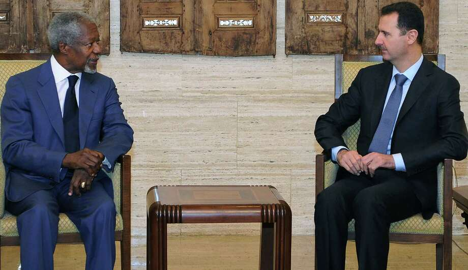 This photo released by the Syrian official news agency SANA, shows United Nations-Arab League special envoy to Syria Kofi Anan, left, meeting with Syrian President Bashar Assad in Damascus, Syria, Monday, July 9, 2012. International envoy Annan raised hopes of a revived peace effort in Syria, saying he has reached a framework with President Bashar Assad and would hold talks with rebel leaders. (AP Photo/SANA) Photo: Anonymous