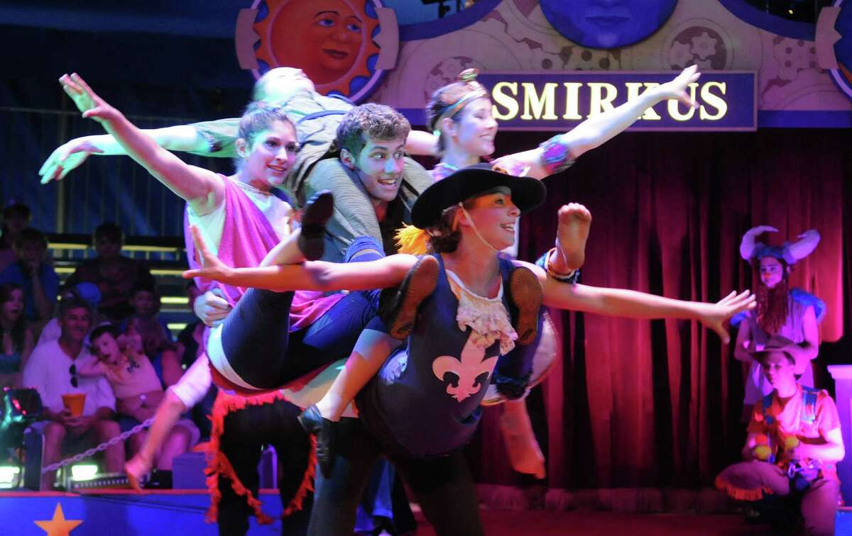 Members of Circus Smirkus perform on Monday, July 9, 2012 at the Saratoga Race Course in Saratoga Springs, NY. The performance troupe is made up of mostly school age children, this year they range from the ages of 8 to 18. The circus performed two shows on Monday and will perform two shows on Tuesday, one at 1pm and one at 7pm. The troupe then travels to Manchester, VT. (Paul Buckowski / Times Union)
