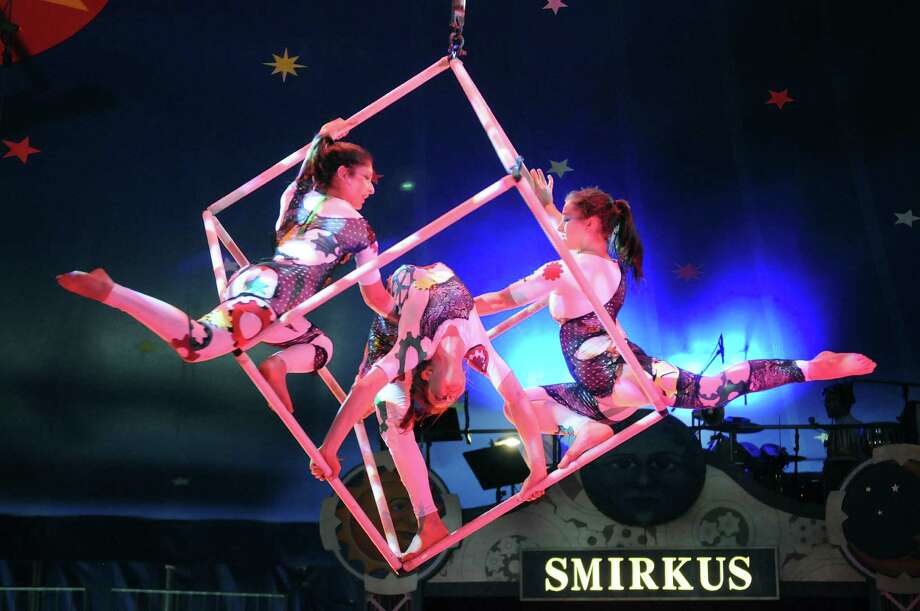 Members of Circus Smirkus perform on Monday, July 9, 2012 at the Saratoga Race Course in Saratoga Springs, NY.  The performance troupe is made up of mostly school age children, this year they range from the ages of 8 to 18.  The circus performed two shows on Monday and will perform two shows on Tuesday, one at 1pm and one at 7pm.  The troupe then travels to   Manchester, VT.   (Paul Buckowski / Times Union) Photo: Paul Buckowski