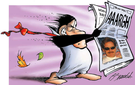 "Berkeley Breathed: Pulitzer Prize-winning cartoonist known for his comic strip ""Bloom County,"" starring Opus the penguin, who's newspaper features a photo of Breathed. Photo: AP Photo / Courtesy,  Berkeley Breathed / courtesy Berkeley Breathed"