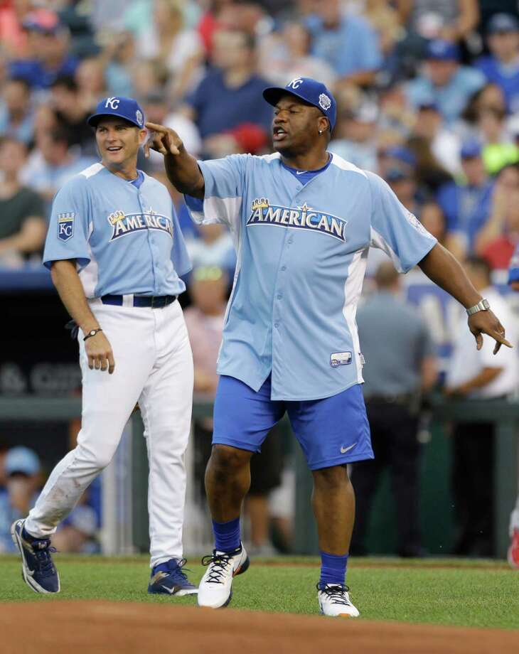 Bo Jackson reacts during the MLB All-Star celebrity softball game, Sunday, July 8, 2012, in Kansas City, Mo. At left is Mike Sweeney. Photo: Jeff Roberson, AP / AP