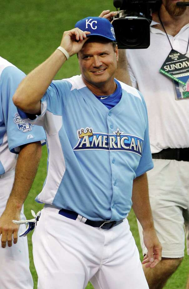 Kansas men's basketball head coach Bill Self waves during player introductions for the MLB All-Star celebrity softball game, Sunday, July 8, 2012, in Kansas City. Photo: Charlie Neibergall, AP / AP