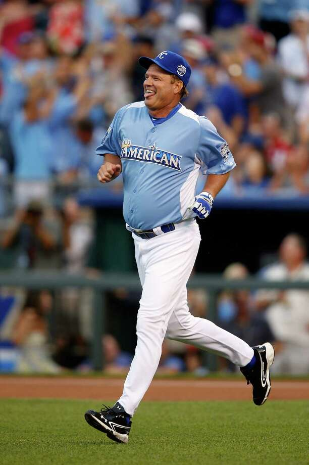 KANSAS CITY, MO - JULY 08:  Kansas head basketball coach Bill Self rounds the bases after hitting a home run during the Taco Bell All-Star Legends & Celebrity Softball Game at Kauffman Stadium on July 8, 2012 in Kansas City, Missouri. Photo: Jamie Squire, Getty Images / 2012 Getty Images