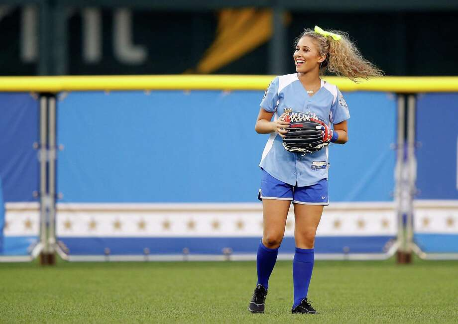 KANSAS CITY, MO - JULY 08:  Singer Haley Reinhart dances during the Taco Bell All-Star Legends & Celebrity Softball Game at Kauffman Stadium on July 8, 2012 in Kansas City, Missouri. Photo: Jamie Squire, Getty Images / 2012 Getty Images