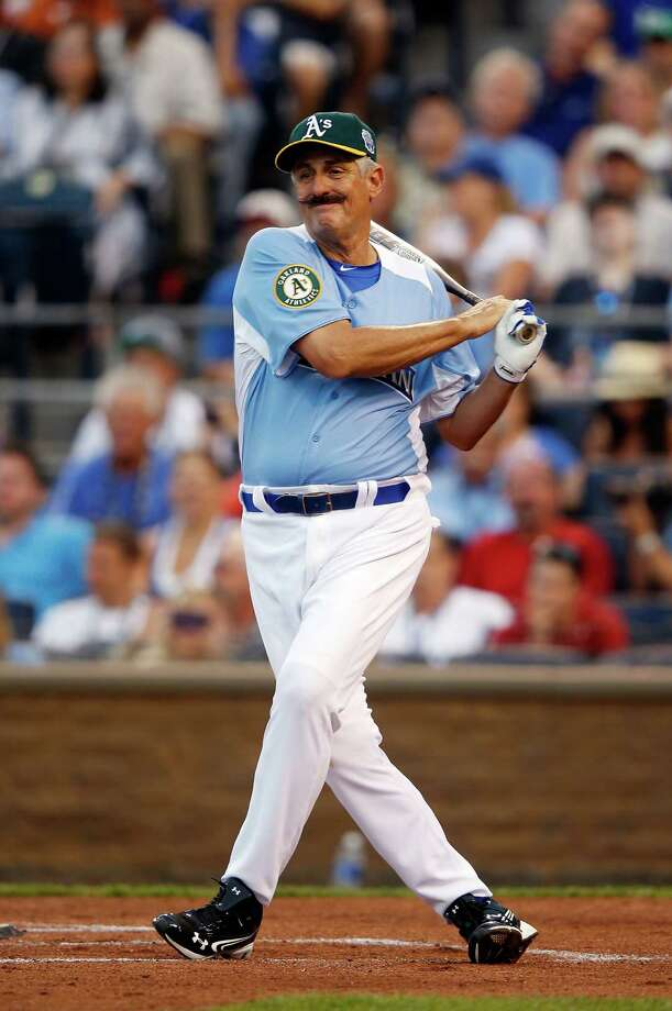 KANSAS CITY, MO - JULY 08:  Former All-Star Rollie Fingers bats during the Taco Bell All-Star Legends & Celebrity Softball Game at Kauffman Stadium on July 8, 2012 in Kansas City, Missouri. Photo: Jamie Squire, Getty Images / 2012 Getty Images