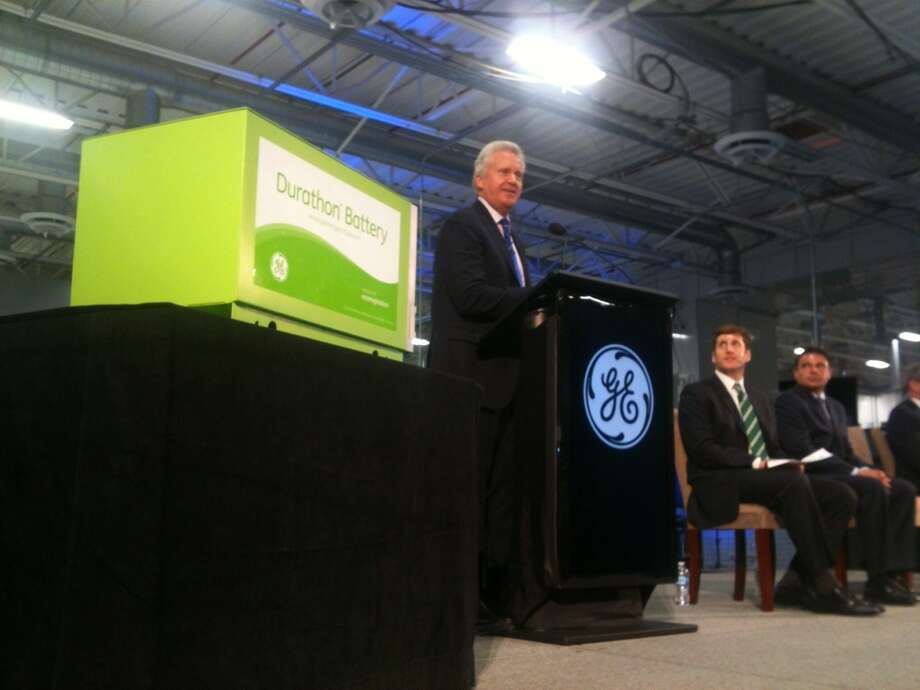 Jeffrey Immelt, chairman and CEO of General Electric Co. speaks at the opening of the company's new battery plant on Tuesday, July 10, 2012 at the GE campus in Schenectady, N.Y. (Paul Buckowski / Times Union) Photo: ( Paul Buckowski / Times Union )