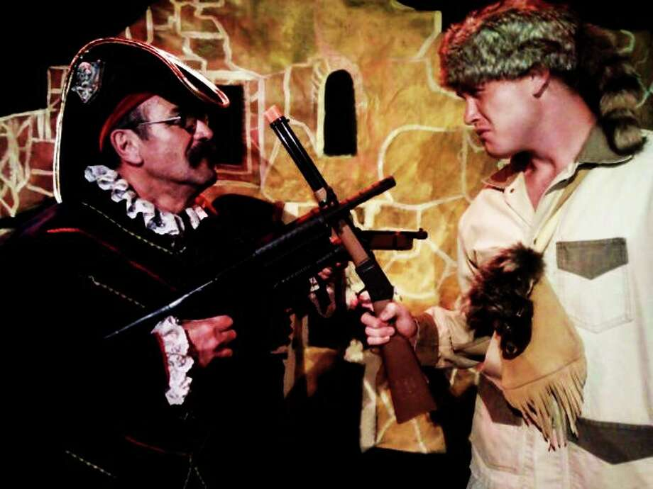 "Robert Pulido (from left) plays Santa Anna and Jon Smith plays Davy Crockett in the Rose Theatre Company's ""The Real Story of the Alamo."" Courtesy Rose Theatre Company"