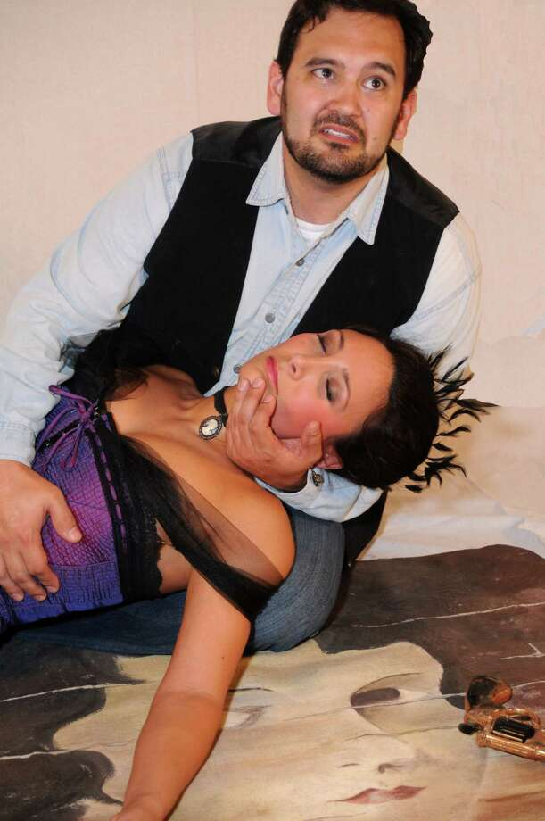 "Eric Schmidt and Laura Estrada appear in the Opera Piccola's ""The Face on the Barroom Floor."" Courtesy Kristian Jaime"