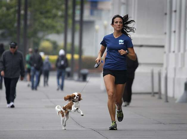 Joanna Reuland trains for the San Francisco Marathon on The Embarcadero with her dog Cooper. Photo: Paul Chinn, The Chronicle