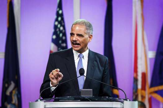 Holder rescheduled his appearance for Tuesday morning, addressing hundreds of delegates at the George R. Brown Convention Center in Houston. Photo: Michael Paulsen, Houston Chronicle / © 2012 Houston Chronicle