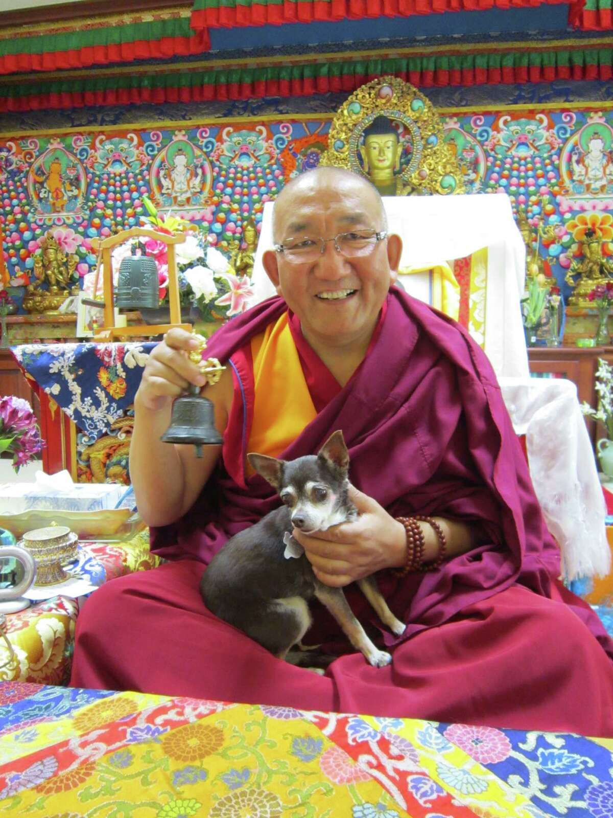 Sasha visits with high lama Arjia Rinpoche at the Tibetan Buddhist Mongolian Cultural Center in Bloomington, Ind.
