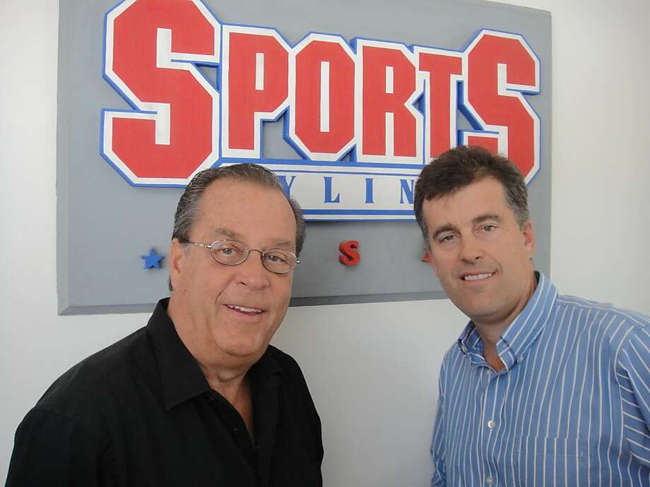 Radio personality Ron Barr with Sports Byline USA president Darren Peck. Photo: Sports Byline USA