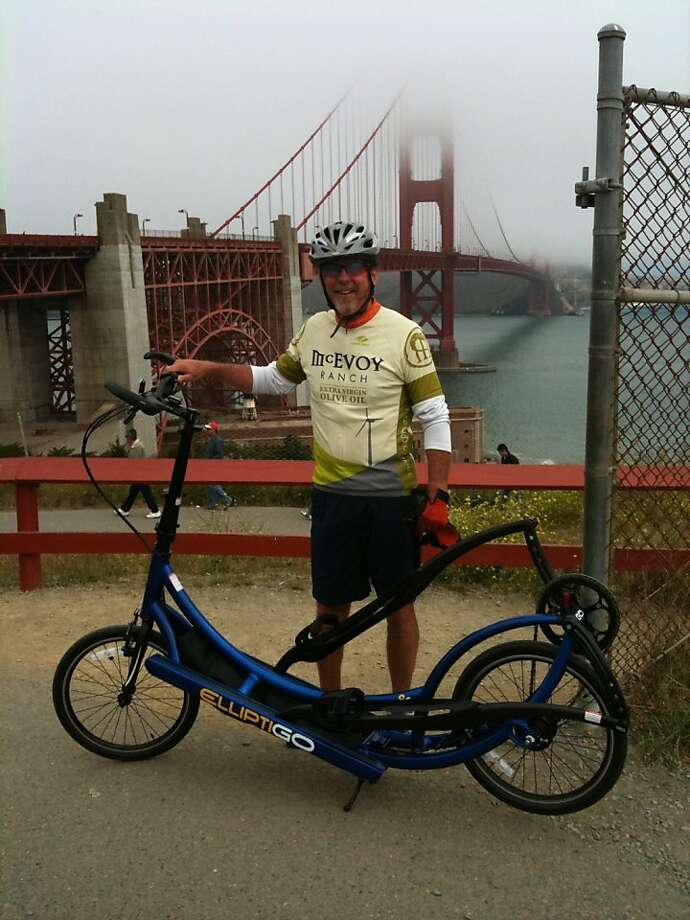 Damon Kerby and his 8-speed ElliptiGO outdoor elliptical cycles are seen at the Golden Gate Bridge in this undated handout photo. Photo: Courtesy Of Damon Kerby