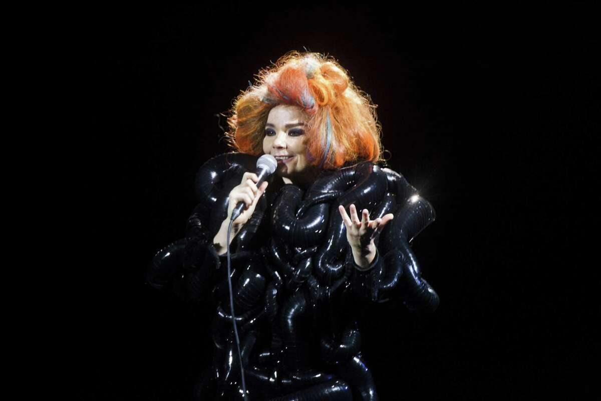 In case you forgot how fantastically odd Bjork is, the Icelandic singer donned this puffy worm dress and bird nest of hair for a show in Denmark this week. Here's a look back at her many strange outfits.