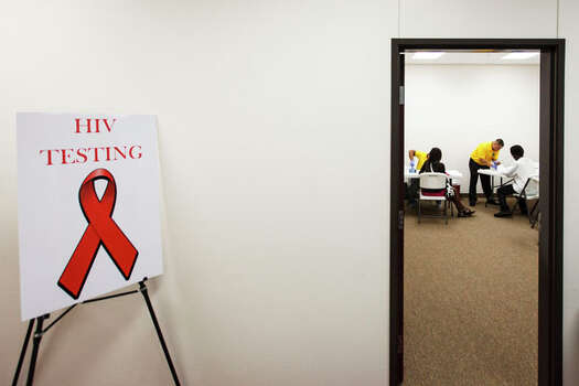 Congregation members take part in the free HIV testing event Sunday at St. Luke Missionary Baptist Church in Humble. Photo: Michael Paulsen, . / © 2012 Houston Chronicle