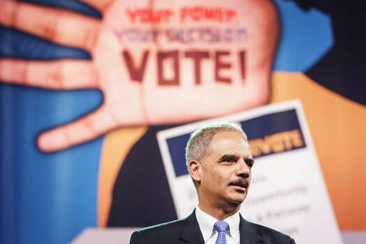 U.S. Attorney General Eric Holder speaks Tuesday at the 103rd NAACP National Convention at the George R. Brown Convention Center in Houston. Photo: Michael Paulsen, . / © 2012 Houston Chronicle
