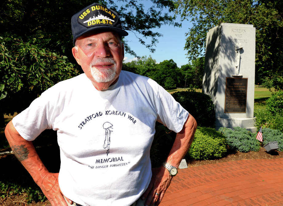 """Nate Barsky, 82, of Stratford, who served in what he calls """"the forgotten war"""" -- the Korean War, poses at the Korean War monument at Academy Hill in Stratford, Conn. on Tuesday July 10, 2012. To help preserve the history of the war, he's setting out to interview 30 men and women who served in the war and then write a book about his experiences and their experiences. Photo: Christian Abraham / Connecticut Post"""