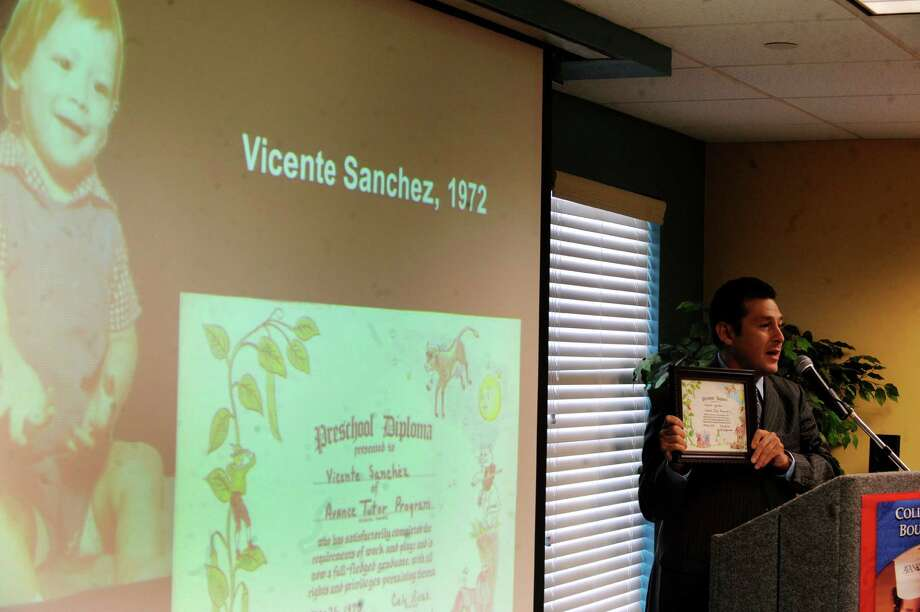 Vicente Sanchez, who as a child benefited from preschool through the AVANCE program, displays his old diploma during an event to announce new nationwide partnerships on Tuesday, July 10, 2012. AVANCE is an organization which champions early childhood education. Photo: Billy Calzada, San Antonio Express-News / © 2012 San Antonio Express-News
