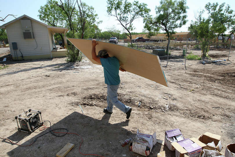 A man camp is under construction near Pearsall in May. A study says that by 2025, an additional 7