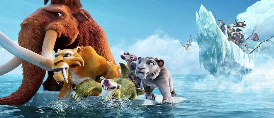 "This image released by 20th Century Fox shows characters, from left, Manny, voiced by Ray Romano, Diego, voiced by Denis Leary, Sid, voiced byJohn Leguizamo, Granny, voiced by Wanda Sykes and Shira, voiced by Jennifer Lopez in a scene from the animated film, ""Ice Age: Continental Drift."" Photo: Blue Sky Studios, AP / TM & © 2011 Twentieth Century Fox Film Corporation. All Rights Reserved. Not for sale or duplication."