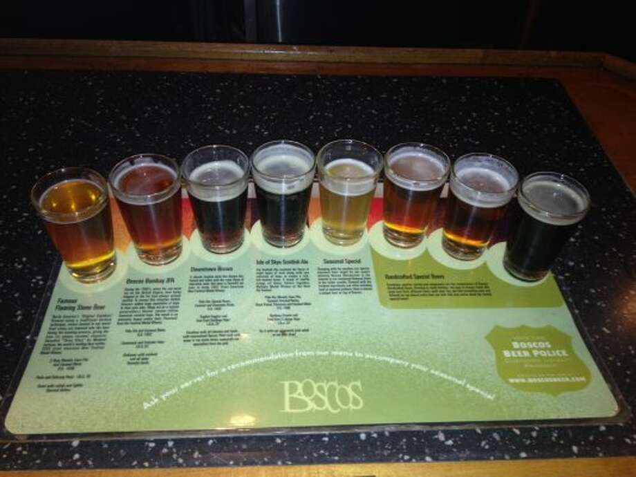 We settled in to sample the goods at Boscos brewpub in downtown Little Rock after touring the Clinton Presidential Library & Museum. (Ronnie Crocker / Beer, TX)