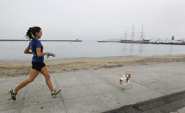 Joanna Reuland trains for the San Francisco Marathon at Aquatic Park with her dog Cooper in San Francisco. Photo: Paul Chinn, The Chronicle