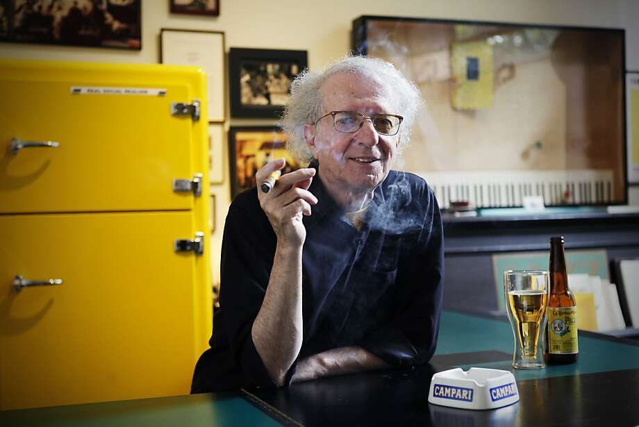 """Tom Marioni is a conceptual artist who has turned half of his studio into a piano bar. Marionis' color is a certain tone of yellow which he named """"Marioni Yellow"""". San Francisco, Calif. on Sunday, July 01, 2012. Photo: Sonja Och, The Chronicle"""
