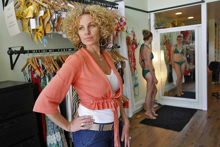 "Zoe Bikini: Santa Barbara native Zoe Magee stitches colorful bikinis of her own  design on a machine in her Mission District shop. Tops and bottoms from S  to XL can be purchased separately; swimsuits run about $140 each. Magee  will close the store for private ""bikini parties"" for women who want to  combine shopping and sipping with girlfriends.3386 18th St., S.F. (415) 621-4551. www.zoebikini.com. Photo: Lacy Atkins, The Chronicle"